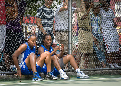 """Bianca Brown, Renee Taylor West 4th Street Women's Pro Classic NYC: Primetime (Blue) 88 v Run N Shoot (Purple) 68, """"The Cage"""", New York, NY, July 7, 2012"""