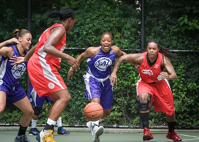 """Korinne Campbell, Mara Strickland, Kellindra Zackery West 4th Street Women's Pro Classic NYC: Big East Ballers (Red) 65 v Run N Shoot (Purple) 63, """"The Cage"""", New York, NY, July 14, 2012"""