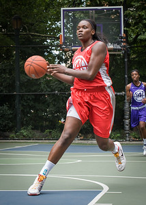 """Michelle Campbell West 4th Street Women's Pro Classic NYC: Big East Ballers (Red) 65 v Run N Shoot (Purple) 63, """"The Cage"""", New York, NY, July 14, 2012"""