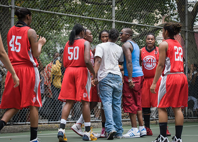 """West 4th Street Women's Pro Classic NYC: Big East Ballers (Red) 65 v Run N Shoot (Purple) 63, """"The Cage"""", New York, NY, July 14, 2012"""