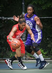 "Anika Rivera, Stefanie Bingham West 4th Street Women's Pro Classic NYC: Big East Ballers (Red) 65 v Run N Shoot (Purple) 63, ""The Cage"", New York, NY, July 14, 2012"