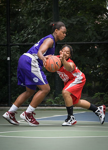 """Stephany Neptune, Anika Rivera West 4th Street Women's Pro Classic NYC: Big East Ballers (Red) 65 v Run N Shoot (Purple) 63, """"The Cage"""", New York, NY, July 14, 2012"""