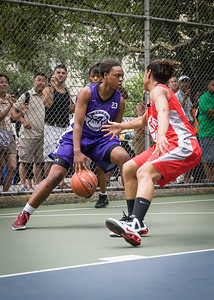 """Stephany Neptune West 4th Street Women's Pro Classic NYC: Big East Ballers (Red) 65 v Run N Shoot (Purple) 63, """"The Cage"""", New York, NY, July 14, 2012"""