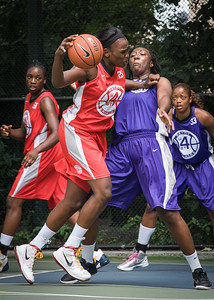 """Michelle Campbell, Kasonna Samms West 4th Street Women's Pro Classic NYC: Big East Ballers (Red) 65 v Run N Shoot (Purple) 63, """"The Cage"""", New York, NY, July 14, 2012"""