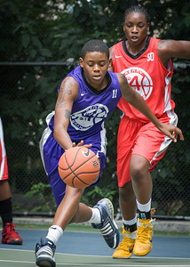 """Jonyce Hollins, Korinne Campbell West 4th Street Women's Pro Classic NYC: Big East Ballers (Red) 65 v Run N Shoot (Purple) 63, """"The Cage"""", New York, NY, July 14, 2012"""