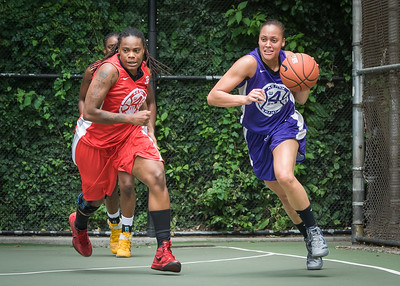 """Kellindra Zackery, Thanzina Cook West 4th Street Women's Pro Classic NYC: Big East Ballers (Red) 65 v Run N Shoot (Purple) 63, """"The Cage"""", New York, NY, July 14, 2012"""