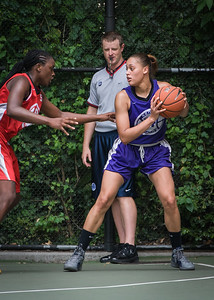 """Thanzina Cook West 4th Street Women's Pro Classic NYC: Big East Ballers (Red) 65 v Run N Shoot (Purple) 63, """"The Cage"""", New York, NY, July 14, 2012"""