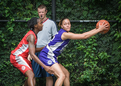 """Thanzina Cook, Shenneika Smith West 4th Street Women's Pro Classic NYC: Big East Ballers (Red) 65 v Run N Shoot (Purple) 63, """"The Cage"""", New York, NY, July 14, 2012"""