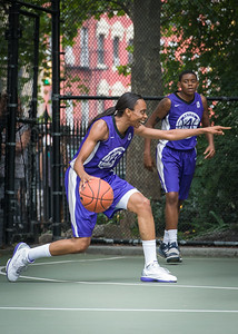"""Jewel Adams West 4th Street Women's Pro Classic NYC: Big East Ballers (Red) 65 v Run N Shoot (Purple) 63, """"The Cage"""", New York, NY, July 14, 2012"""