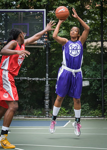 """Mara Strickland, Korinne Campbell West 4th Street Women's Pro Classic NYC: Big East Ballers (Red) 65 v Run N Shoot (Purple) 63, """"The Cage"""", New York, NY, July 14, 2012"""