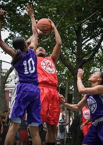 "Kellindra Zackery, Jewel Adams West 4th Street Women's Pro Classic NYC: Big East Ballers (Red) 65 v Run N Shoot (Purple) 63, ""The Cage"", New York, NY, July 14, 2012"