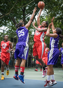 """Shenneika Smith, Dawn Coleman West 4th Street Women's Pro Classic NYC: Big East Ballers (Red) 65 v Run N Shoot (Purple) 63, """"The Cage"""", New York, NY, July 14, 2012"""