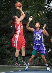 "Regina Washington, Toni-Ann Lawrence West 4th Street Women's Pro Classic NYC: Big East Ballers (Red) 65 v Run N Shoot (Purple) 63, ""The Cage"", New York, NY, July 14, 2012"