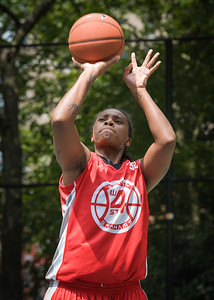 """Kellindra Zackery West 4th Street Women's Pro Classic NYC: Big East Ballers (Red) 65 v Run N Shoot (Purple) 63, """"The Cage"""", New York, NY, July 14, 2012"""