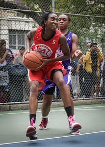 """Shenneika Smith, Stephany Neptune West 4th Street Women's Pro Classic NYC: Big East Ballers (Red) 65 v Run N Shoot (Purple) 63, """"The Cage"""", New York, NY, July 14, 2012"""