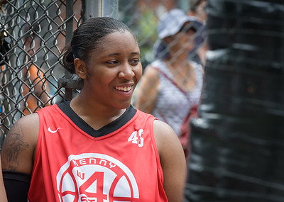 """Nailah Cherry West 4th Street Women's Pro Classic NYC: Big East Ballers (Red) 65 v Run N Shoot (Purple) 63, """"The Cage"""", New York, NY, July 14, 2012"""