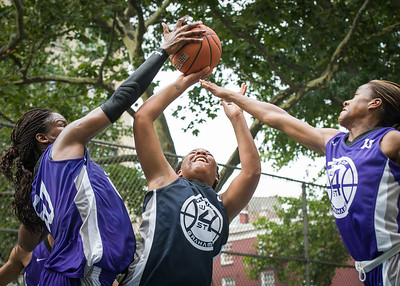 """Sarissa Gaskins, Micki Younger, Toni-Ann Lawrence West 4th Street Women's Pro Classic NYC: Run N Shoot (Purple) 79 v Impulse (Navy) 49, """"The Cage"""", New York, NY, July 15, 2012"""