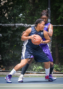 """Sarissa Gaskins, Micki Younger West 4th Street Women's Pro Classic NYC: Run N Shoot (Purple) 79 v Impulse (Navy) 49, """"The Cage"""", New York, NY, July 15, 2012"""