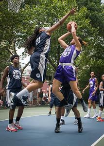 "Thanzina Cook, Nadia Duncan, Janjellica ""JJ"" Johnson West 4th Street Women's Pro Classic NYC: Run N Shoot (Purple) 79 v Impulse (Navy) 49, ""The Cage"", New York, NY, July 15, 2012"
