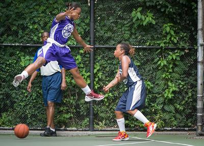 """Stephany Neptune, Nina Granberry West 4th Street Women's Pro Classic NYC: Run N Shoot (Purple) 79 v Impulse (Navy) 49, """"The Cage"""", New York, NY, July 15, 2012"""