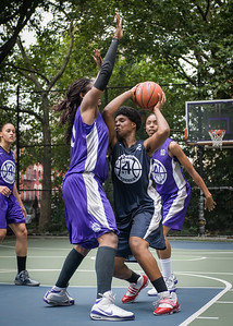 "Janjellica ""JJ"" Johnson, Micki Younger, Jewel Adams West 4th Street Women's Pro Classic NYC: Run N Shoot (Purple) 79 v Impulse (Navy) 49, ""The Cage"", New York, NY, July 15, 2012"
