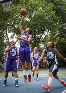 "Ariel Smith, Dawn Coleman, Nina Granberry, Thanzina Cook West 4th Street Women's Pro Classic NYC: Run N Shoot (Purple) 79 v Impulse (Navy) 49, ""The Cage"", New York, NY, July 15, 2012"