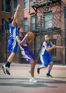 Alicea Ulmer, Sade Jackson, Marika Sprow West 4th Street Women's Pro Classic NYC: Lady Soldiers (Blue) 83 v Da Bizznezz (Purple) 54, William F. Passannante Ballfield, New York, NY, July 15, 2012