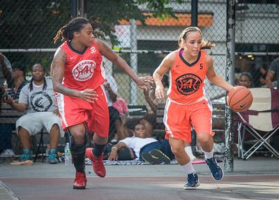 Stephanie Isaacs, Kellindra Zackery West 4th Street Women's Pro Classic NYC: Big East Ballers (Red) 95 v Lady Ballers (Orange) 62, William F. Passannante Ballfield, New York, NY, July 15, 2012