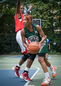 """Erica Morrow, Sharlena Charles West 4th Street Women's Pro Classic NYC: Sports Challenge Semis: Exodus NYC Apache (Green) 84 v Red All Stars 80, """"The Cage"""", New York, NY, July 21, 2012"""