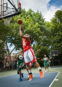 """Troya Berry, Nicole Michael West 4th Street Women's Pro Classic NYC: Sports Challenge Semis: Exodus NYC Apache (Green) 84 v Red All Stars 80, """"The Cage"""", New York, NY, July 21, 2012"""