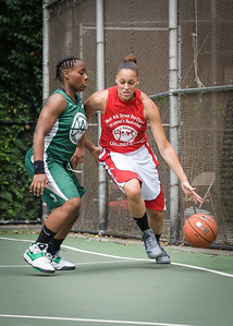 """Thanzina Cook, Africa Williams West 4th Street Women's Pro Classic NYC: Sports Challenge Semis: Exodus NYC Apache (Green) 84 v Red All Stars 80, """"The Cage"""", New York, NY, July 21, 2012"""