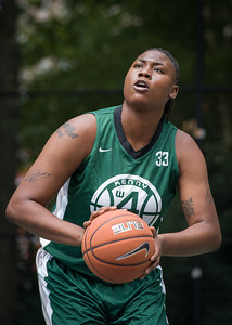 """Brittany Webb West 4th Street Women's Pro Classic NYC: Sports Challenge Semis: Exodus NYC Apache (Green) 84 v Red All Stars 80, """"The Cage"""", New York, NY, July 21, 2012"""