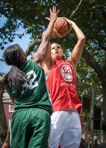 "Tori Jarosz, Nicole Michael West 4th Street Women's Pro Classic NYC: Sports Challenge Semis: Exodus NYC Apache (Green) 84 v Red All Stars 80, ""The Cage"", New York, NY, July 21, 2012"