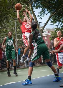 "Maurita Reid, Nicole Michael West 4th Street Women's Pro Classic NYC: Sports Challenge Semis: Exodus NYC Apache (Green) 84 v Red All Stars 80, ""The Cage"", New York, NY, July 21, 2012"