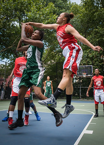 """Tiffany Jones, Thanzina Cook West 4th Street Women's Pro Classic NYC: Sports Challenge Semis: Exodus NYC Apache (Green) 84 v Red All Stars 80, """"The Cage"""", New York, NY, July 21, 2012"""