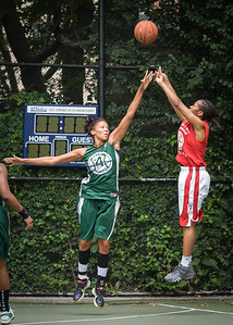 """Maurita Reid, Maria Clifton West 4th Street Women's Pro Classic NYC: Sports Challenge Semis: Exodus NYC Apache (Green) 84 v Red All Stars 80, """"The Cage"""", New York, NY, July 21, 2012"""