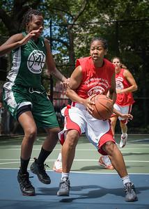 "Maurita Reid, Tiffany Jones West 4th Street Women's Pro Classic NYC: Sports Challenge Semis: Exodus NYC Apache (Green) 84 v Red All Stars 80, ""The Cage"", New York, NY, July 21, 2012"