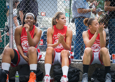 "Troya Berry, Tori Jarosz, Thanzina Cook West 4th Street Women's Pro Classic NYC: Sports Challenge Semis: Exodus NYC Apache (Green) 84 v Red All Stars 80, ""The Cage"", New York, NY, July 21, 2012"