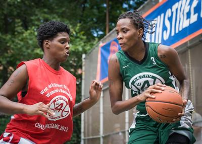 "Tiffany Jones, Janjellica ""JJ"" Johnson West 4th Street Women's Pro Classic NYC: Sports Challenge Semis: Exodus NYC Apache (Green) 84 v Red All Stars 80, ""The Cage"", New York, NY, July 21, 2012"