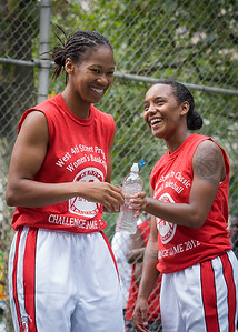 """Maurita Reid, Renee Taylor West 4th Street Women's Pro Classic NYC: Sports Challenge Semis: Exodus NYC Apache (Green) 84 v Red All Stars 80, """"The Cage"""", New York, NY, July 21, 2012"""
