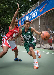 """Bianca Brown, Erica Morrow West 4th Street Women's Pro Classic NYC: Sports Challenge Semis: Exodus NYC Apache (Green) 84 v Red All Stars 80, """"The Cage"""", New York, NY, July 21, 2012"""