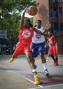 Korinne Campbell, Rashawna French West 4th Street Women's Pro Classic NYC: Sports Challenge Semis: Big East Ballers (Red) 41 v White All Stars 34, William F. Passannante Ballfield, New York, NY, July 21, 2012