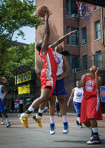 Korinne Campbell, Jennifer Blanding West 4th Street Women's Pro Classic NYC: Sports Challenge Semis: Big East Ballers (Red) 41 v White All Stars 34, William F. Passannante Ballfield, New York, NY, July 21, 2012