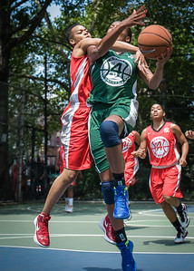 """Nicole Michael, Nicole Rhem West 4th Street Women's Pro Classic NYC: Sports Challenge Final-Exodus NYC Apache (Green) 65 v Big East Ballers (Red) 58, """"The Cage"""", New York, NY, July 22, 2012"""