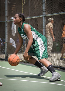 """Africa Williams West 4th Street Women's Pro Classic NYC: Sports Challenge Final-Exodus NYC Apache (Green) 65 v Big East Ballers (Red) 58, """"The Cage"""", New York, NY, July 22, 2012"""