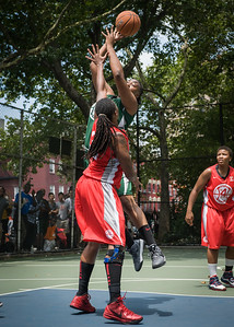 """Brittany Webb, Kellindra Zackery West 4th Street Women's Pro Classic NYC: Sports Challenge Final-Exodus NYC Apache (Green) 65 v Big East Ballers (Red) 58, """"The Cage"""", New York, NY, July 22, 2012"""