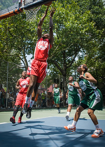 """Victoria Macaulay West 4th Street Women's Pro Classic NYC: Sports Challenge Final-Exodus NYC Apache (Green) 65 v Big East Ballers (Red) 58, """"The Cage"""", New York, NY, July 22, 2012"""