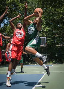 """Milan Germany, Michelle Campbell West 4th Street Women's Pro Classic NYC: Sports Challenge Final-Exodus NYC Apache (Green) 65 v Big East Ballers (Red) 58, """"The Cage"""", New York, NY, July 22, 2012"""