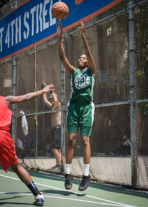 """Tiffany Jones West 4th Street Women's Pro Classic NYC: Sports Challenge Final-Exodus NYC Apache (Green) 65 v Big East Ballers (Red) 58, """"The Cage"""", New York, NY, July 22, 2012"""