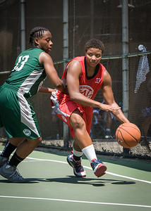 """Tasha Cannon, Africa Williams West 4th Street Women's Pro Classic NYC: Sports Challenge Final-Exodus NYC Apache (Green) 65 v Big East Ballers (Red) 58, """"The Cage"""", New York, NY, July 22, 2012"""